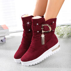 Women's Leatherette Flat Heel Ankle Boots Low Top With Beading shoes