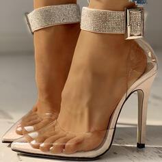 De mujer PVC Tacón stilettos Salón con Rhinestone Hebilla zapatos