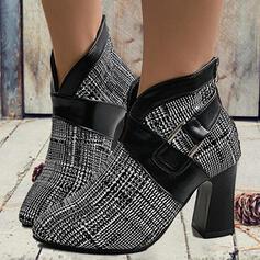 婦人向け PU チャンクヒール ポンプ ブーツ かかと とともに バックル スプライスカラー 靴