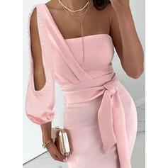 Jednolita Długie rękawy Pokrowiec Przyjęcie Midi Sukienki