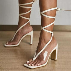 Women's PU Chunky Heel Sandals Pumps Peep Toe Flip-Flops Square Toe With Lace-up Solid Color shoes