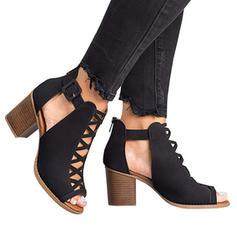 De mujer PU Tacón ancho Sandalias Salón con Agujereado zapatos