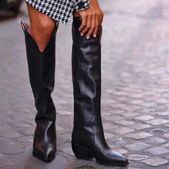 婦人向け PU チャンクヒール とともに ソリッドカラー 靴