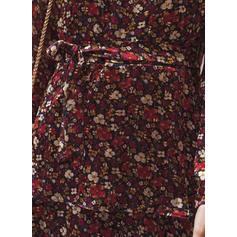 Impresión/Floral Manga Larga Acampanado Sobre la Rodilla Casual/Elegante Patinador Vestidos