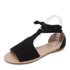 De mujer Ante Tacón plano Sandalias Planos Encaje con Cordones zapatos