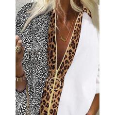 """Tisk Leopard Výstřih do """"V"""" Dlouhé rukávy Neformální Košile halenky"""