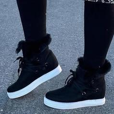 Donna PU Zeppe Senza tacco Stivali alla caviglia Punta rotonda Stivali invernali con Allacciato Floreale scarpe