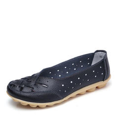 Pentru Femei Piele Reală călcâi plat Balerini cu De la gât înafară pantofi