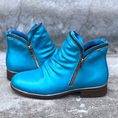 De mujer PU Tacón bajo Botas al tobillo con Cremallera Color sólido zapatos