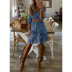 PolkaDot 3/4 Sleeves A-line Above Knee Casual Skater Dresses