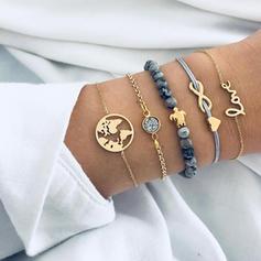 Snygg Legering Flätade Rep Pärlor Kvinnor Mode Armband (Sats om 5)