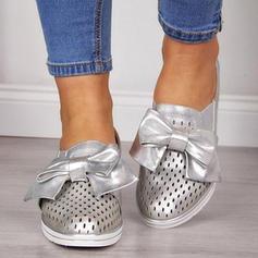 Mulheres PU Sem salto Sem salto com Bowknot sapatos