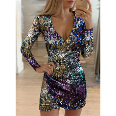 Sequins Long Sleeves Sheath Above Knee Sexy/Party Dresses
