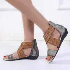 De mujer PU Tacón bajo Sandalias Encaje Solo correa con Cruzado zapatos