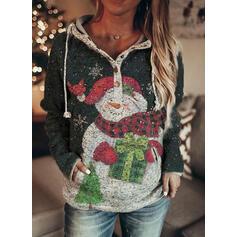Nyomtatás Kapsy Dlouhé rukávy Vánoční mikina