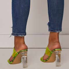 Women's PVC Chunky Heel Sandals Pumps Peep Toe Slippers With Others shoes