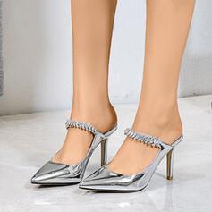De mujer Cuero Tacón stilettos Sandalias Salón con Rhinestone zapatos