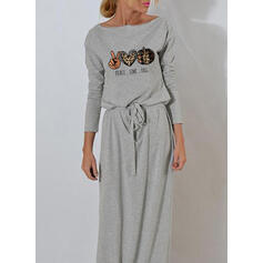 Tisk/Leopard Dlouhé rukávy Pouzdrové Neformální/Halloween Maxi Šaty