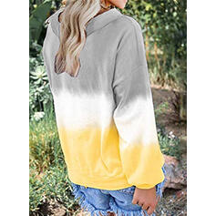 Gradient V-Neck One-Shoulder Long Sleeves Casual T-shirts