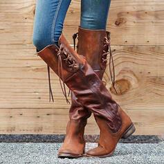 Pentru Femei PU Toc gros Cizme până la genunchi Cu vârful cu Lace-up Culoare solida pantofi