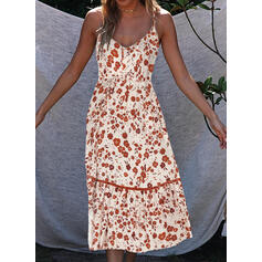 Nadrukowana/Kwiatowy Bez rękawów W kształcie litery A Halka Casual/Wakacyjna Midi Sukienki