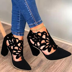 Women's PU Chunky Heel Pumps Closed Toe Heels With Hollow-out shoes