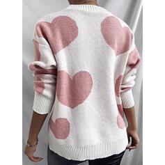 印刷 ビーズ ハート ラウンドネック カジュアル セーター
