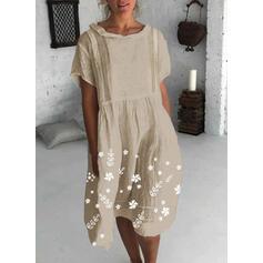 Nadrukowana/Kwiatowy Krótkie rękawy Koktajlowa Długośc do kolan Casual Tunika Sukienki