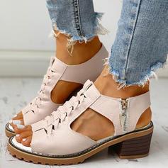Γυναίκες PU Χοντρό φτέρνα Ανοιχτά σανδάλια toe Με Φερμουάρ παπούτσια