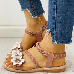 De mujer Ante Tacón plano Sandalias Encaje con Flor zapatos