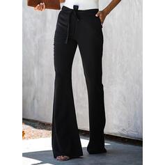 Kieszenie Marszczona Kokarda Długo Elegancki Seksowny Jednolity Równina Spodnie