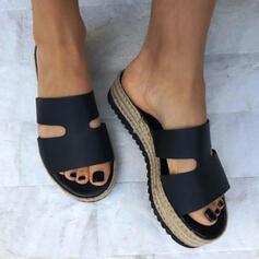 Kvinnor Konstläder Flat Heel Sandaler Plattform Peep Toe Tofflor med Ihåliga ut Solid färg skor