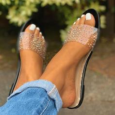 Donna PVC Senza tacco Sandalo Ballerine Ciabatte con Paillette scarpe