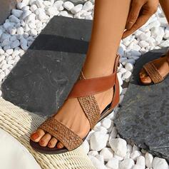 De mujer Cuero Tacón plano Sandalias Planos Encaje con Agujereado Correa Trenzada zapatos