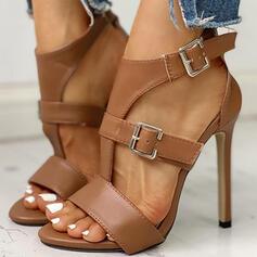 De mujer PU Tacón stilettos Sandalias Encaje con Hebilla zapatos