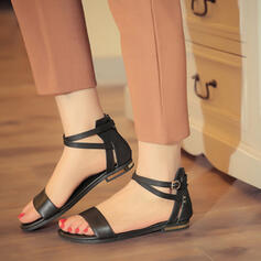 Γυναίκες PU Επίπεδη φτέρνα Σανδάλια Ανοιχτά σανδάλια toe Με Πόρπη παπούτσια