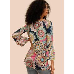 Potisk Květiny Kulatý Výstřih Rozšířený rukáv Dlouhé rukávy Neformální Bluze
