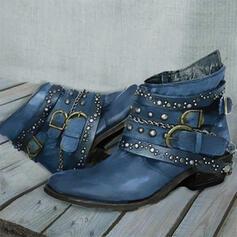 De mujer PU Tacón ancho Botas con Rivet Hebilla Color sólido zapatos