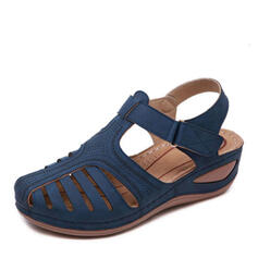 Bayanlar PU Sivri topuk Sandalet Ile Velcro ayakkabı