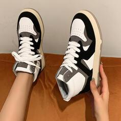 De mujer Ante Tela PU Tacón plano Planos Botas al tobillo Cima mas alta Zapatillas con Cordones Labor de retazos Color de empalme zapatos