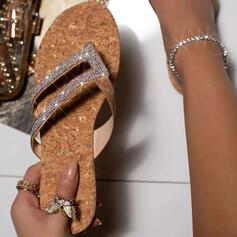 De mujer PU Tacón plano Sandalias Encaje con Rhinestone zapatos