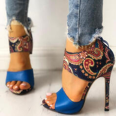Bayanlar PU Topuklu ayakkabı Sandalet Peep Toe Ile Fermuar ayakkabı