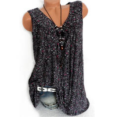 Floral V-Neck Sleeveless Casual Sexy Tank Tops