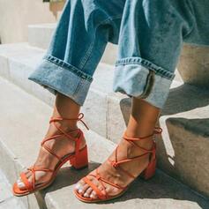 De mujer Cuero de Microfibra Tacón ancho Sandalias con Cordones zapatos