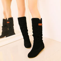 Pentru Femei Piele de Căprioară Fară Toc Balerini Închis la vârf Cizme Cizme până la jumătatea gambei cu Volane pantofi