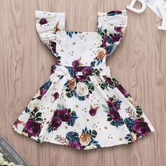 ベビー女の子 フリル フローラル 印刷 コットン ドレス