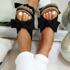 PVC Flat Heel Sandaler Platta Skor / Fritidsskor Peep Toe med Bowknot skor