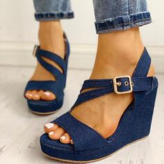De mujer Juan Tipo de tacón Sandalias Cuñas Encaje con Hebilla zapatos