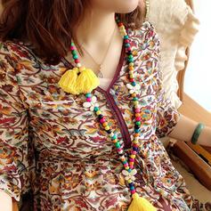 La modă Elegant Classic Mărgele din lemn cu ciucuri Femei coliere