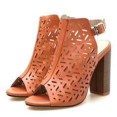 De mujer PU Tacón ancho Encaje con Hebilla zapatos